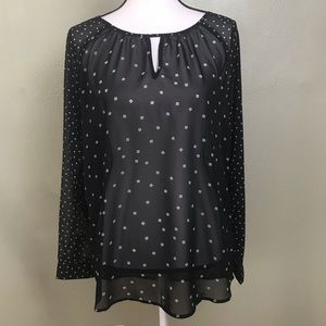 Old Navy Black White Print Sheer Turnic Top Size M